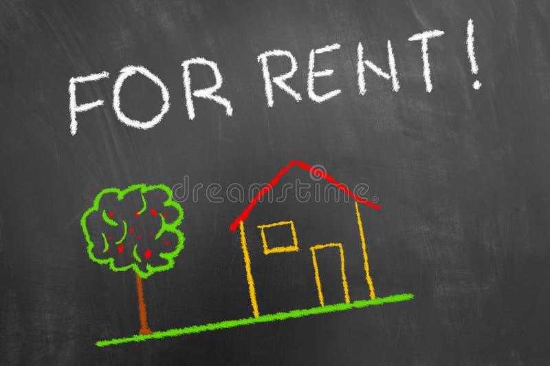 对租用房粉笔画和文本在黑板或chalkboar 免版税库存图片