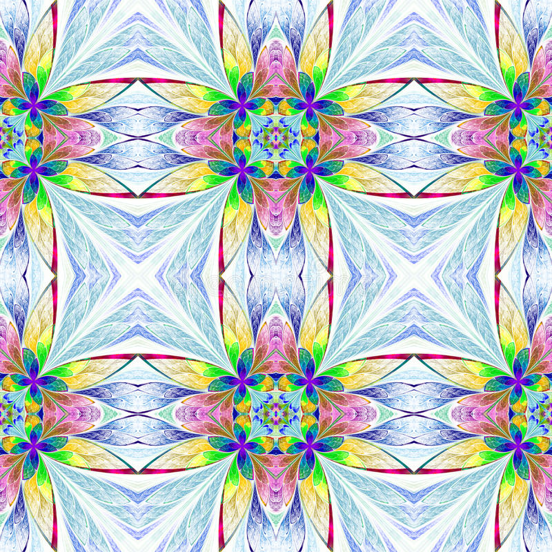 对称多彩多姿的花纹花样在彩色玻璃窗里 向量例证