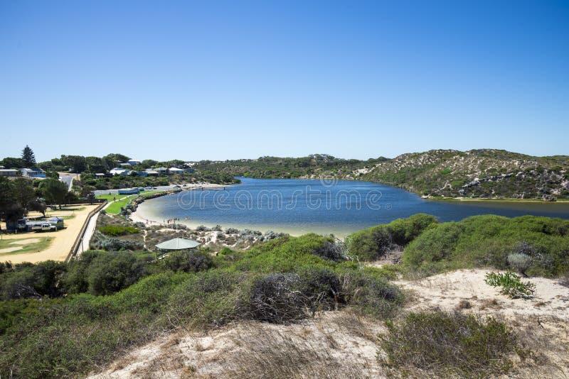 对穆尔河盐水湖的一个看法 免版税库存照片