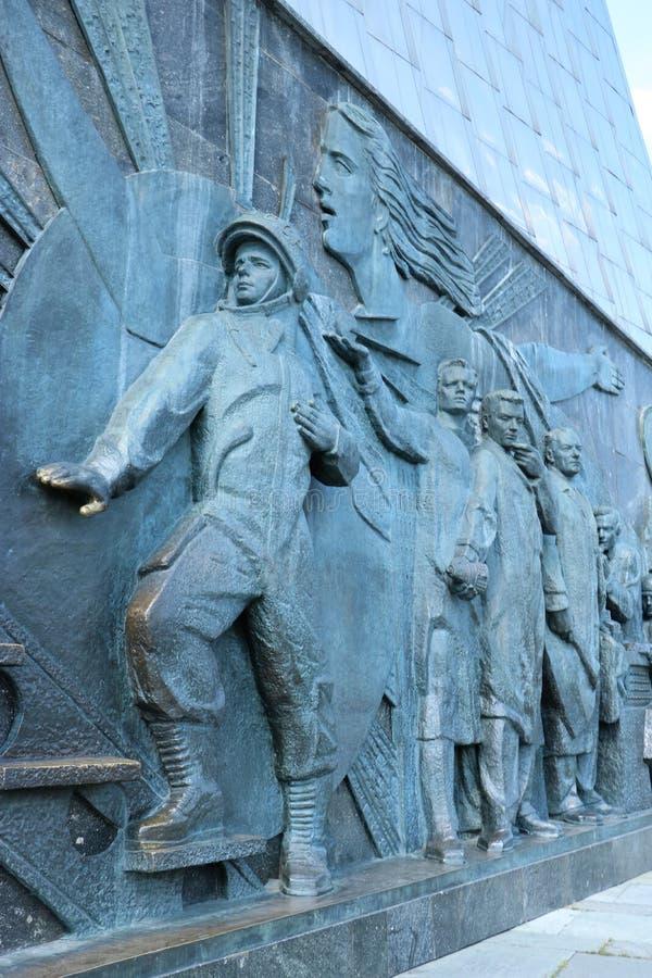 对空间,莫斯科的征服者的纪念碑 免版税库存照片