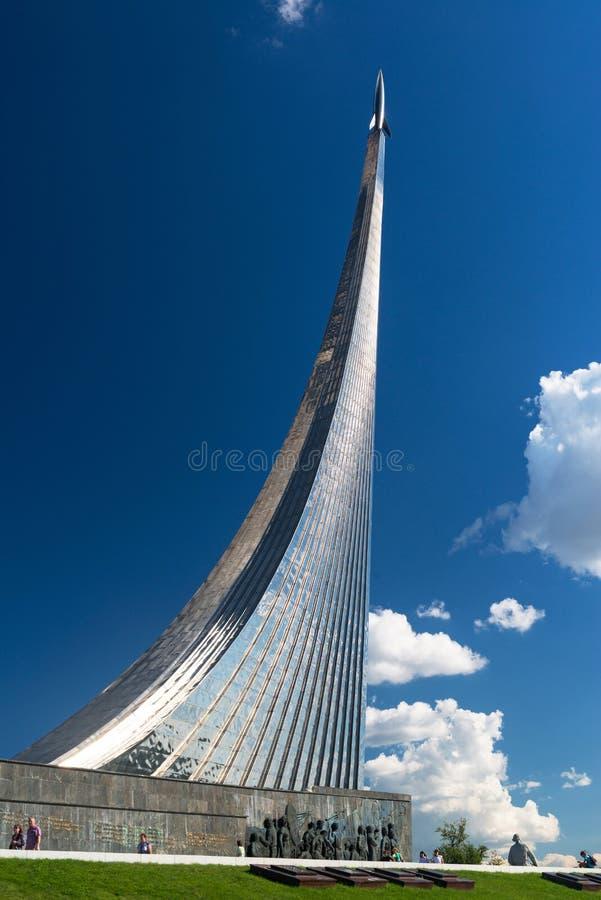 对空间的征服者的纪念碑在莫斯科 图库摄影