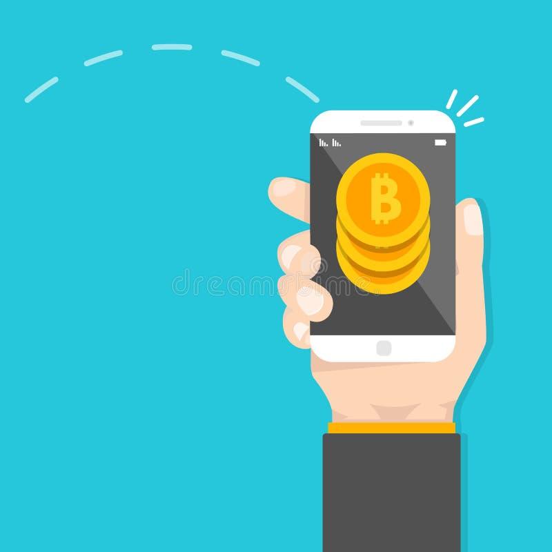 对等付款 智能手机调动金钱 Cryptocurrency交易 库存例证