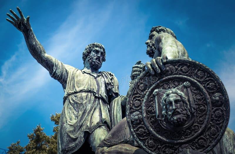 对米宁的在红场,莫斯科的纪念碑和Pozharsky 免版税库存图片