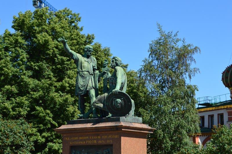 对米宁的纪念碑和Pozharsky,莫斯科的中心 库存图片