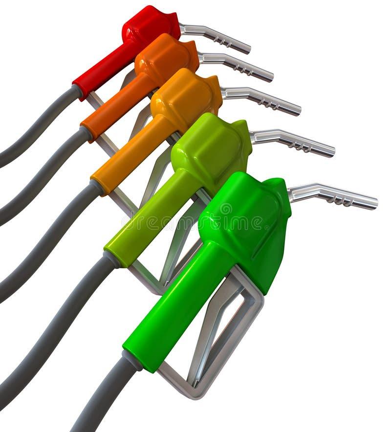 对红色的加油泵增强的绿色 库存例证