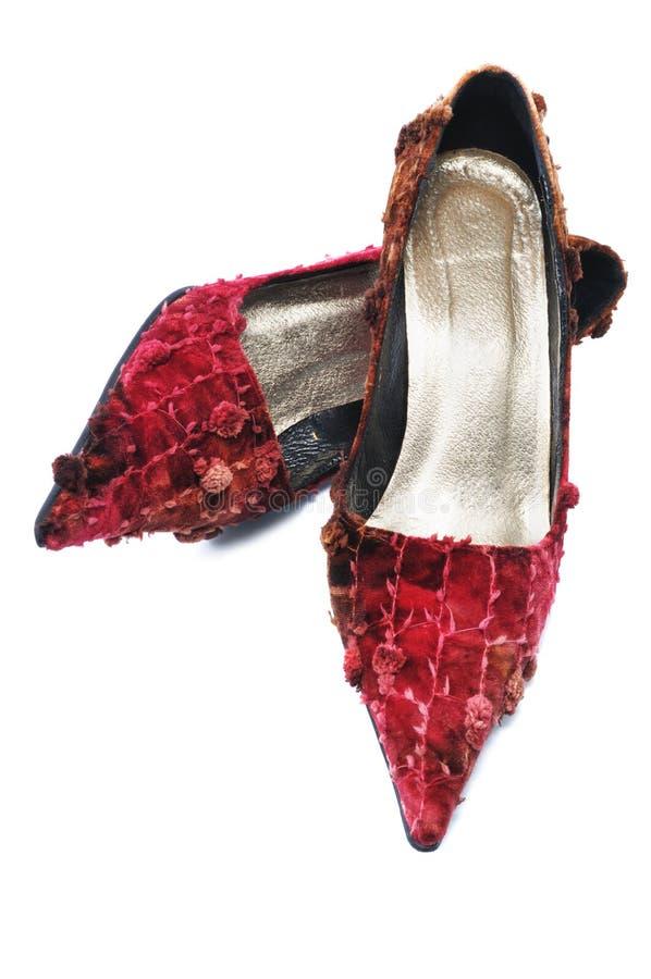 对红色穿上鞋子妇女 免版税库存照片