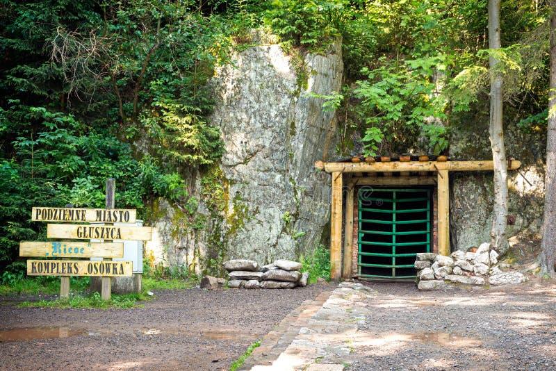 对纳粹修造的隧道的入口在波兰 图库摄影
