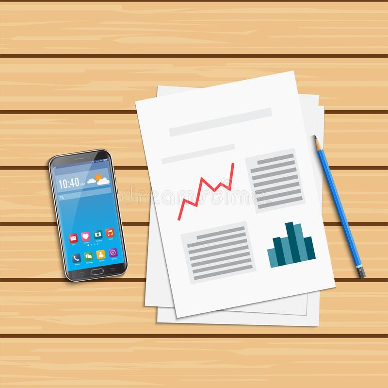 对统计数字和智能手机的分析 研究优化财政infographic,企业逻辑分析方法例证 皇族释放例证
