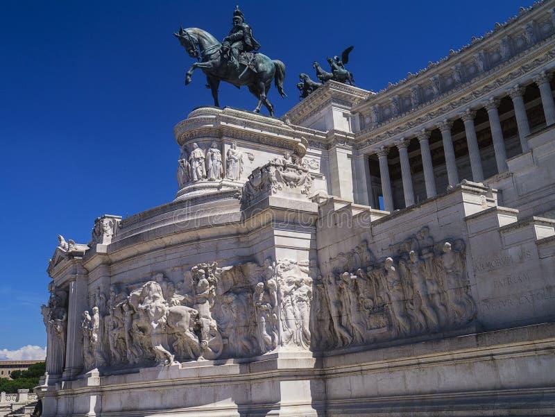 对维托里奥广场的Venezia Emanuele 2国王的纪念碑在罗马 免版税库存照片