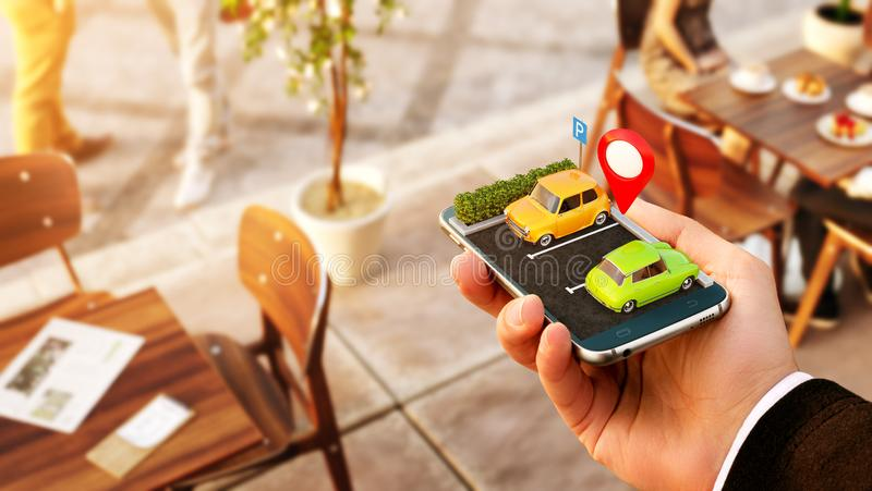 对网上搜索自由停车场的智能手机申请地图的 GPS?? 停车处概念 库存照片
