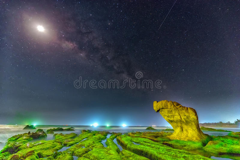 对美丽古老青苔化石的海滩的星系 免版税库存图片