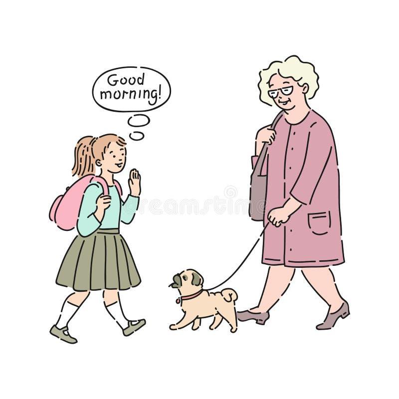 对老妇人的传染媒介礼貌的孩子早晨好 向量例证