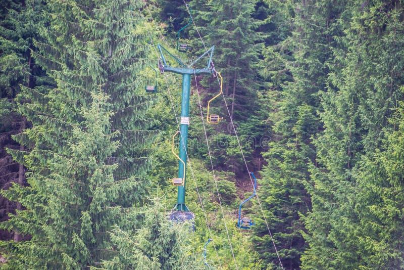 对老跳高滑雪的驾空滑车 免版税库存照片