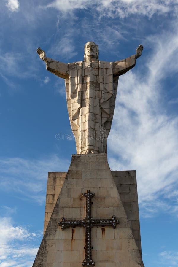对耶稣的耶稣圣心的纪念碑在奥维耶多 库存照片
