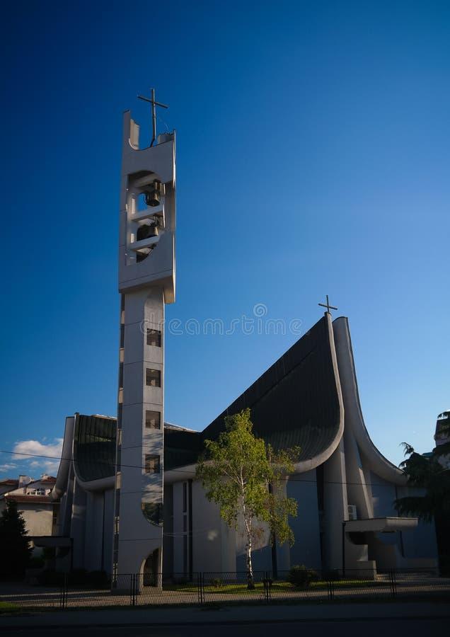 对耶稣,斯科普里,北部马其顿的天主教-耶稣圣心的外视图 免版税库存照片