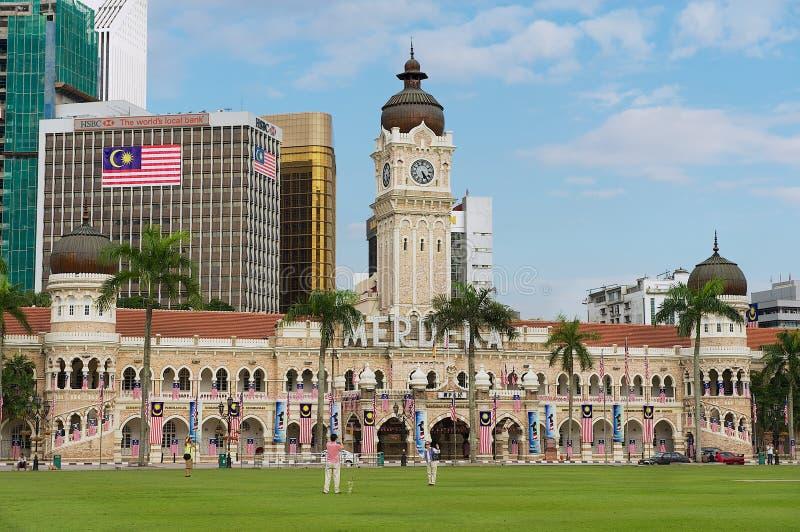 对苏丹阿卜杜勒萨玛德大厦的看法在独立正方形Dataran独立报在吉隆坡,马来西亚 免版税库存照片