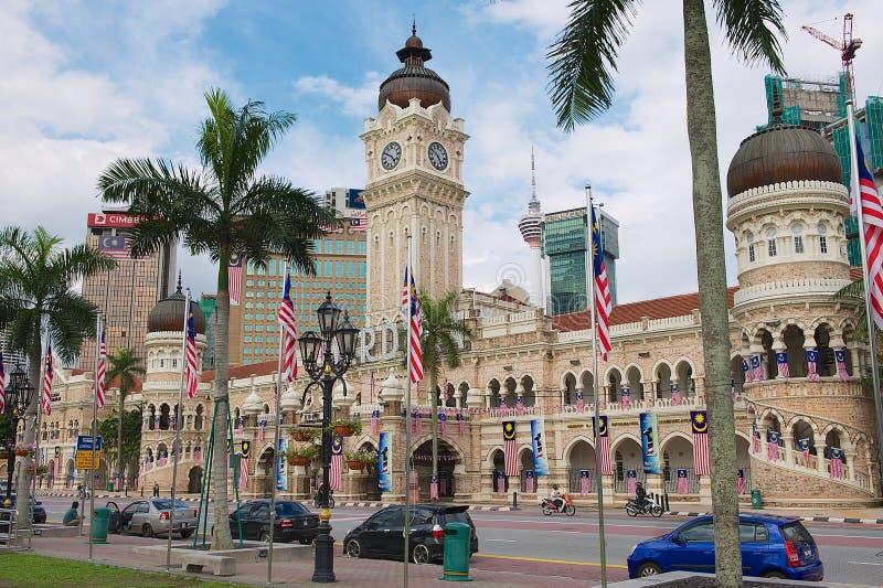 对苏丹阿卜杜勒萨玛德大厦的看法在独立正方形Dataran独立报在吉隆坡,马来西亚 库存图片