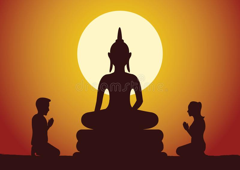 对菩萨的佛教妇女和人薪水尊敬礼貌地雕刻 库存例证