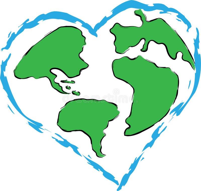 对行星地球的爱 向量例证