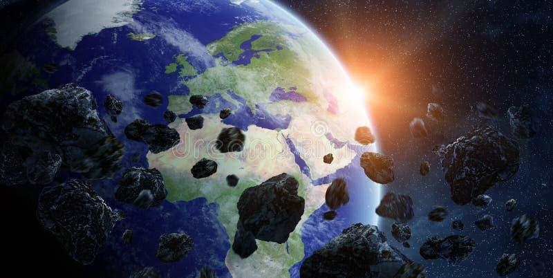 对行星地球的陨石冲击在空间 皇族释放例证