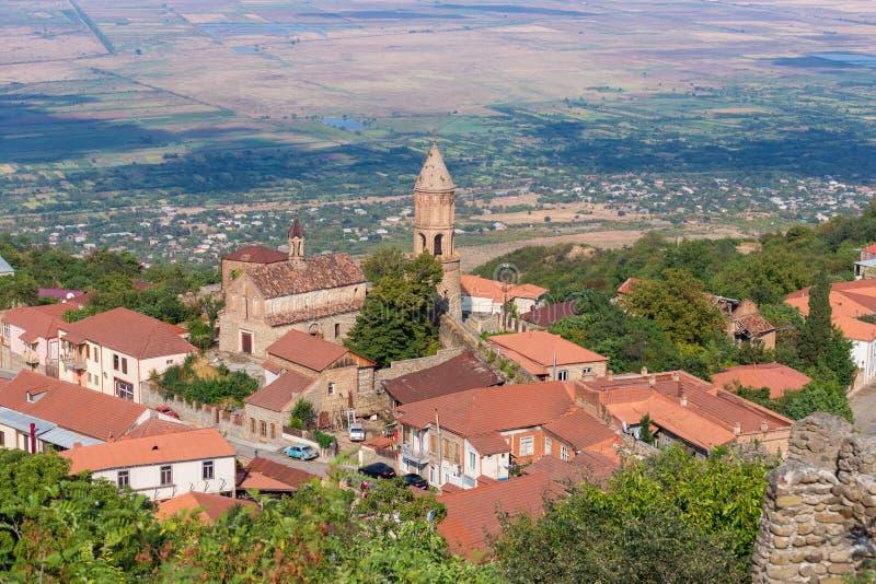 对西格纳吉(Signagi)老镇在卡赫季州地区,乔治亚的看法 库存图片