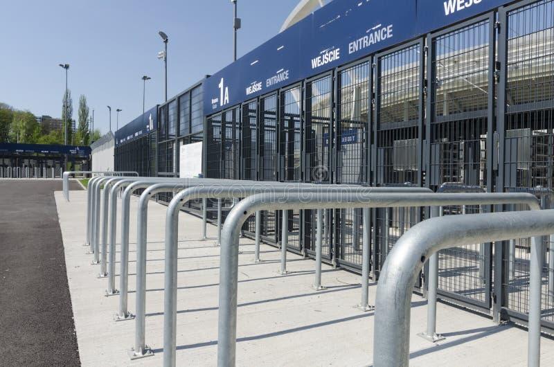 对西莱亚西全国体育场的入口门 库存照片