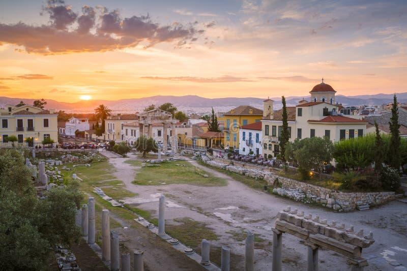 对视图的上城集市雅典接近的hadrian图书馆罗马s端 免版税库存照片