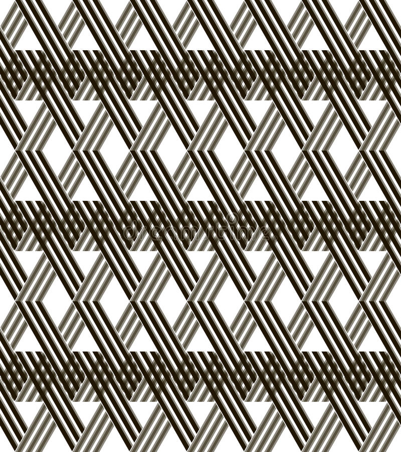 对角柳条格子无缝的黑白样式 库存例证