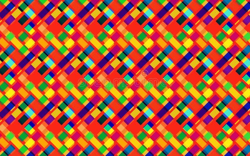 对角正方形和菱形的抽象明亮的重复的样式 向量例证