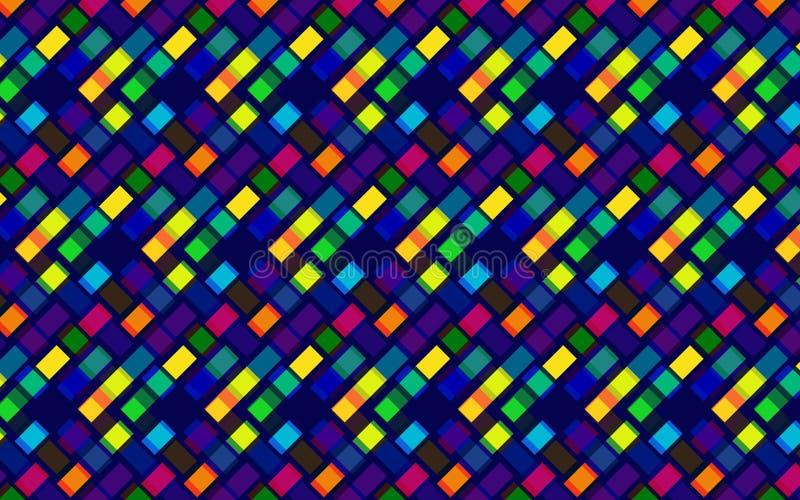 对角正方形的抽象五颜六色的重复的样式与霓虹作用的 向量例证