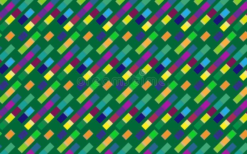 对角正方形的抽象五颜六色的重复的样式在绿色背景的 库存例证