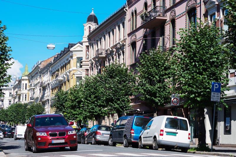 对角特隆赫姆市街道背景 免版税图库摄影