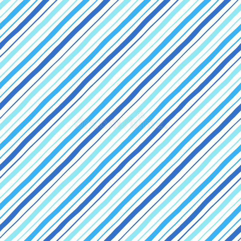 对角线平行乱画样式蓝色条纹无缝的样式 库存例证