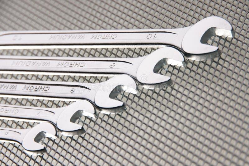 对角镀铬物被镀的工具 免版税库存照片