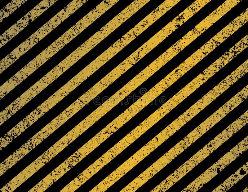 对角黑和黄色条纹 向量例证
