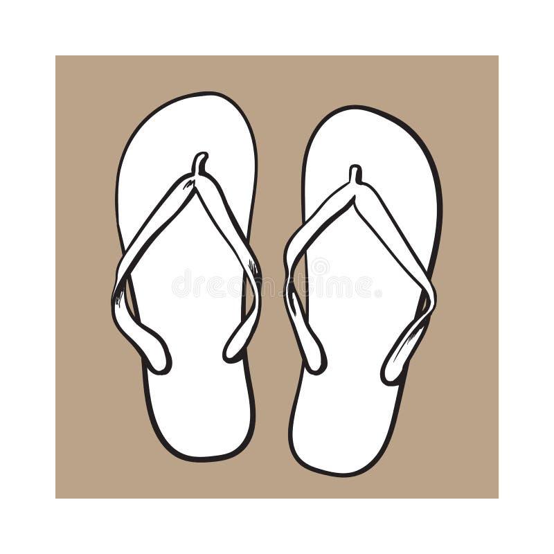 对触发器,夏时假期属性,拖鞋,鞋子 向量例证