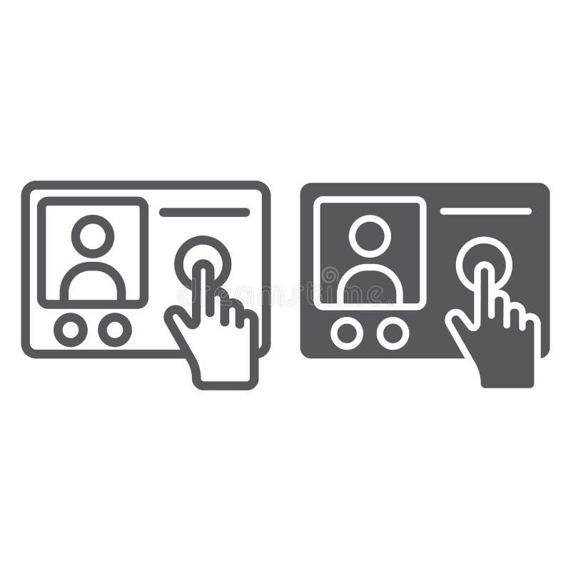 对讲机电话线和纵的沟纹象,通信和电子,电话标志,向量图形,在a的一个线性样式 库存例证