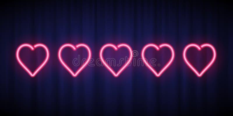 对设计元素估计的五桃红色霓虹心脏隔绝在蓝色帷幕背景 导航排列的霓虹心形 向量例证