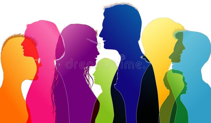 对话和比较在大学生之间 青年人联系 色的剪影外形 传染媒介多重曝光 皇族释放例证