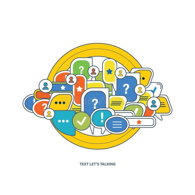 对话,讲话的概念起泡与标志通信 库存例证