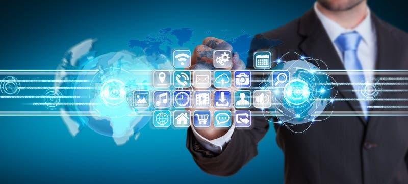 对象和应用软件的商人连接的世界 皇族释放例证