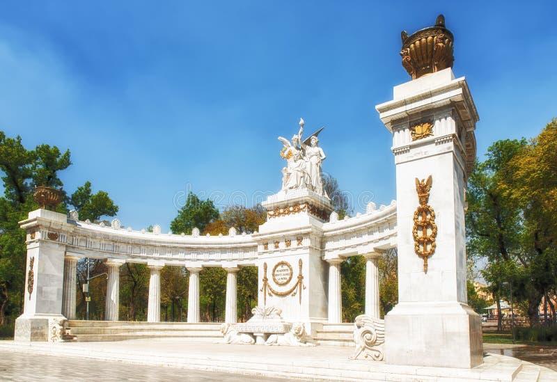 对贝尼托Juà ¡ rez的纪念碑在墨西哥城 库存图片