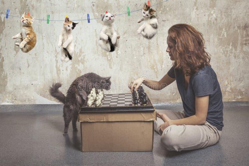 对边的关心和下棋 库存照片