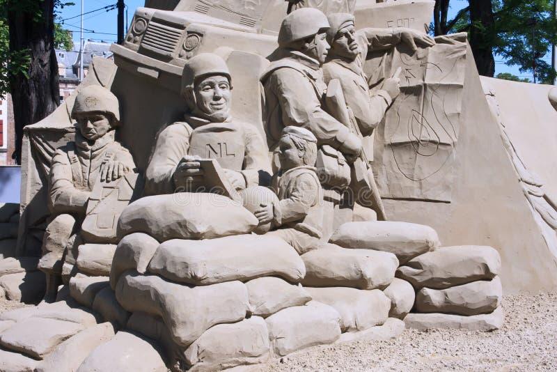 对进贡退伍军人的沙子雕塑 免版税库存照片