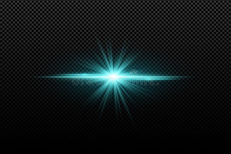 对透明背景的抽象明亮的时髦的光线影响 明亮的发光的星 多彩多姿的火光 蓝色光芒 五颜六色的fl 库存例证