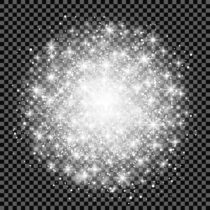 对透明背景的焕发光线影响 也corel凹道例证向量 圣诞节一刹那概念 与闪闪发光的星爆炸 向量例证