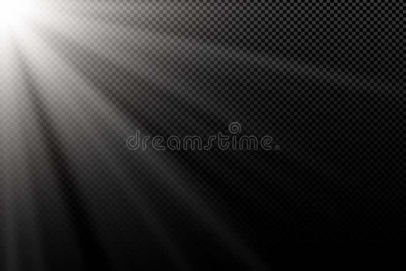 对透明黑暗的背景的时髦的白光作用 发出光线白色 黑暗的光 明亮的展开 抽象光 向量 皇族释放例证