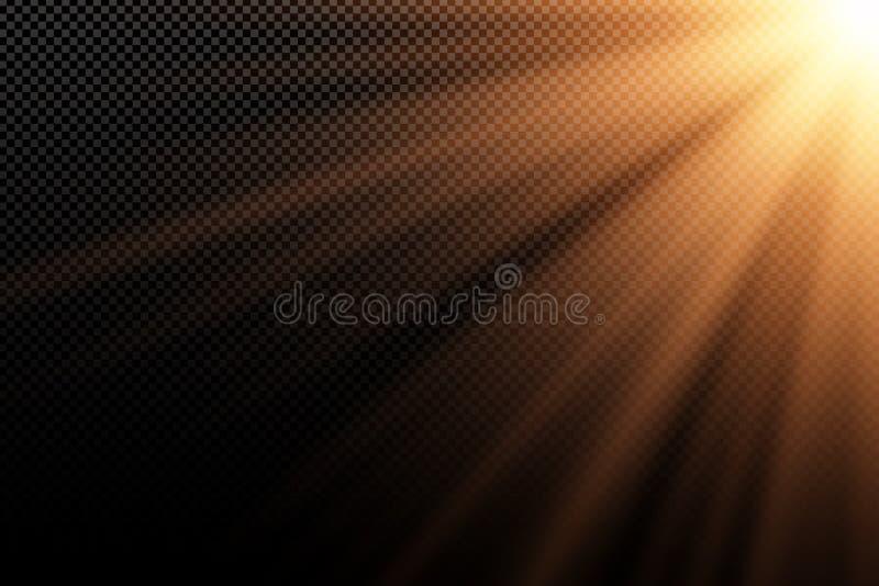 对透明黑暗的背景的时髦的金光线影响 金黄光芒 黑暗的光 明亮的展开 阳光 摘要 皇族释放例证