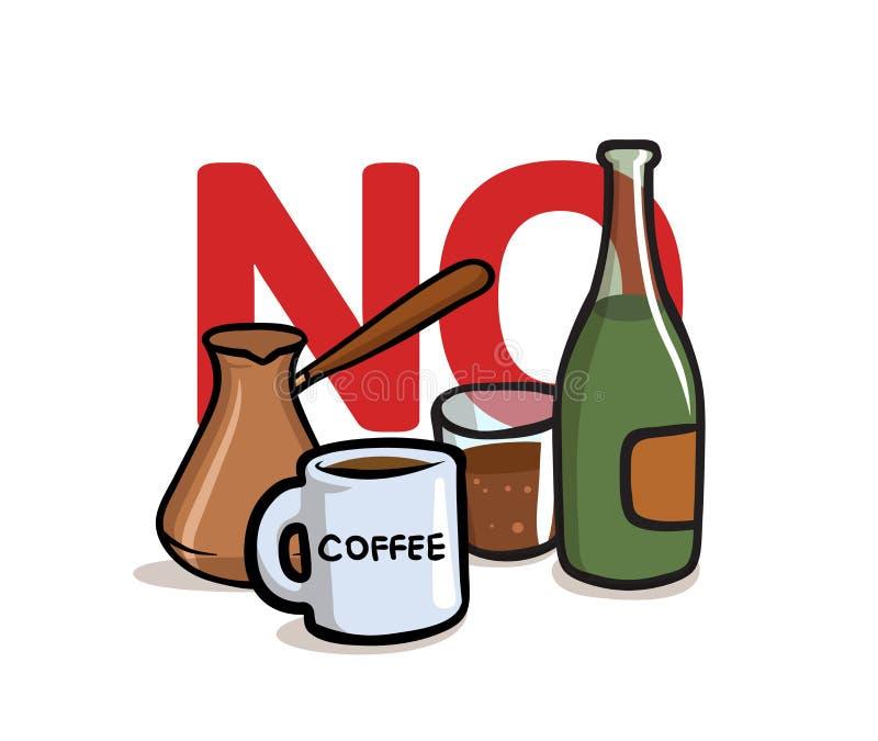 对酒精和咖啡因说不 酒精,无咖啡因 平的传染媒介例证 背景查出的白色 向量例证