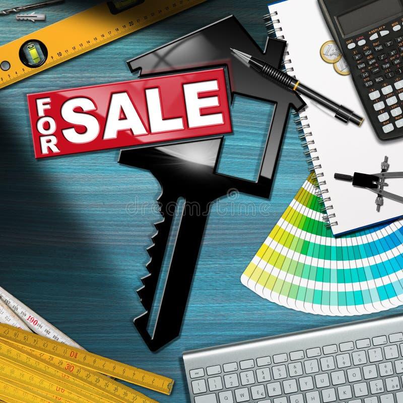 对销售-有一把钥匙的议院在书桌上 免版税库存图片